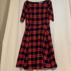 Eshakti Red & Navy Flannel Plaid Dress w/ pockets